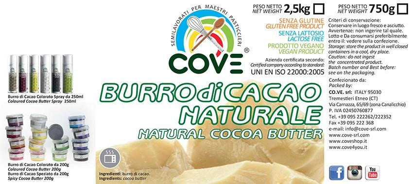 Burro di cacao naturale g 750
